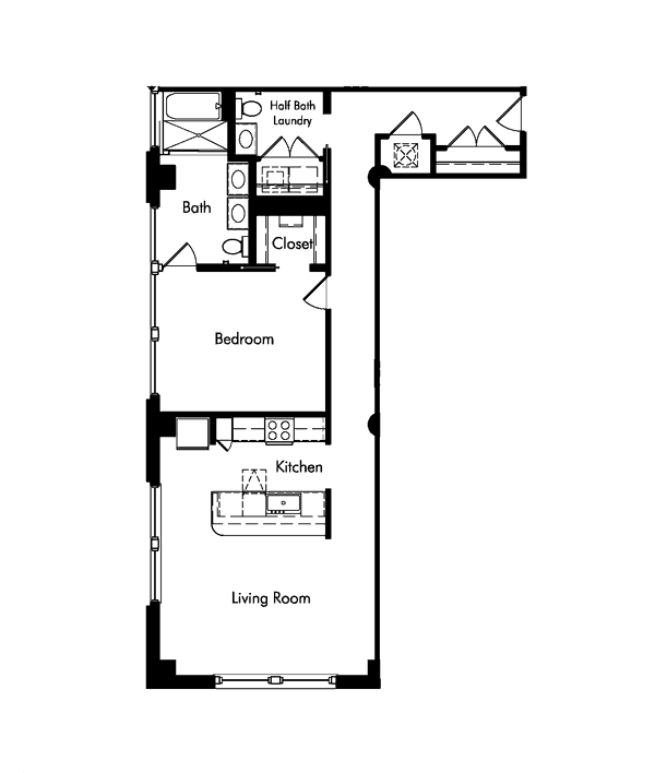floorplan for 1 bedroom, 1 and half bath